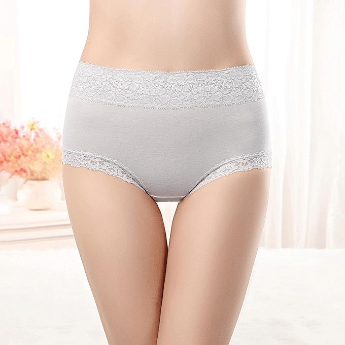d72738c8ea Lace high waist underwear women no trace large size comfortable breathable  cotton briefs-light grey