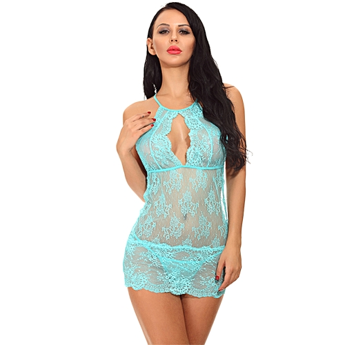 faf989cf0de0d Generic Sexy Women Babydoll Lingerie Sheer Lace Halter Neck Mini Chemise  Dress Hot Nightwear Teddy Dress With G-String