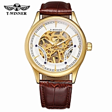 A708 Men Watch Semi-Automatic Mechanical Watch Time Display Fashion Casual Leather Strap Luminous Hands Male Wristwatch Relogio Masculino