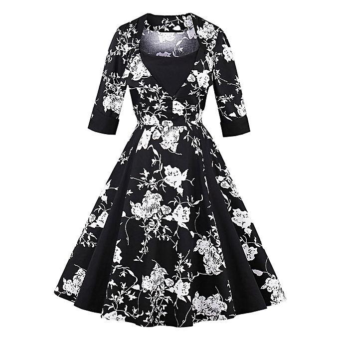 0c9387400f Fashion Vintage Floral Print Pinup Skater Dress - BLACK @ Best Price ...
