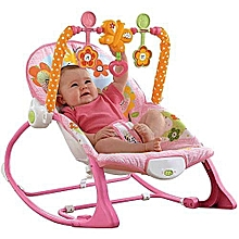 Infant to Toddler Baby Rocker with Musical Toy Bar & Vibrations- pink