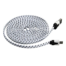 3M Fabric Braided Flat Micro USB Charger Data Cable For Tablet Cellphone-White