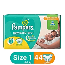 Baby Dry Diapers with Extra Absorb Channels - Newborn Size 1 (44 Count)