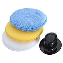 3Pcs Microfibre Foam Sponge Polish Wax Cleaning Applicator Pads And Handle Set