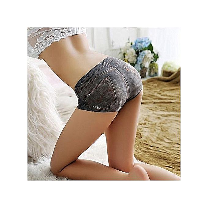 b45846ca6098 ... Women's Fashion One Piece Ice Silk Women's Briefs 3D Sexy Simulation  Anti-Lugging Denim Underwear ...
