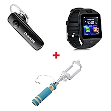 Bundle Of DZ-09 Smart Watch Phone With Free Bluetooth headset and selfie stick -   Black
