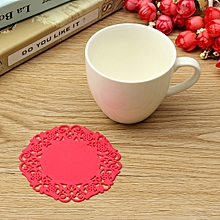 Red New Hot Beautiful Silicone Coasters Random 6 Pack Color Round Drink Coasters Lace Stain Resistant Placemat
