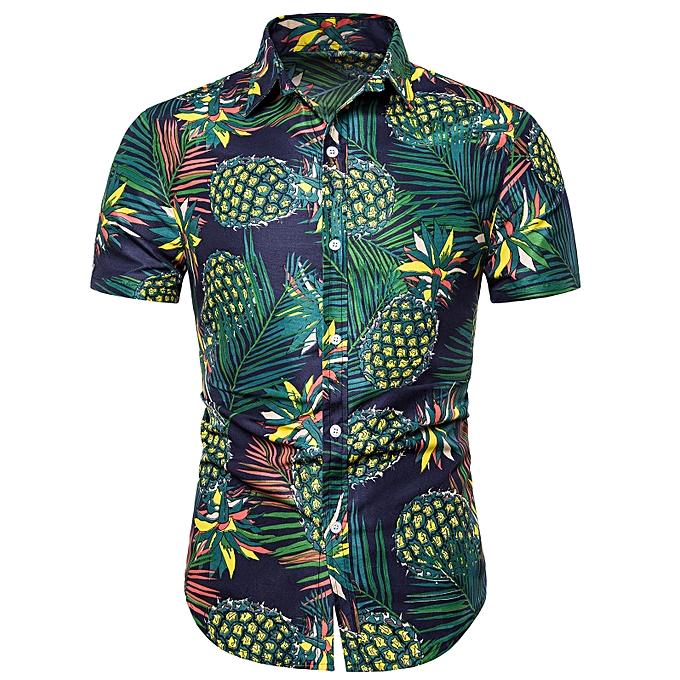 219839a3 Fashion Pineapple Plant Print Short Sleeves Shirt - DEEP GREEN ...