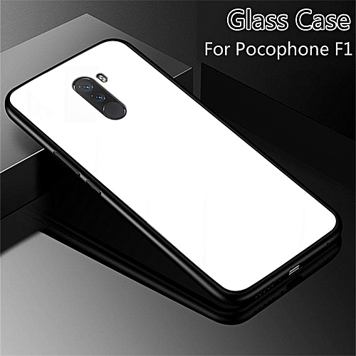 sale retailer 5d9b4 88f18 Glass Case For Pocophone F1 Full Protection Tempered Glass Back Cover  Housing For Xiaomi Pocophone F1 Casing Shell 208577 (White)