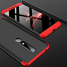 GKK PC 360 Degrees Full Coverage Case for Nokia 6 (2018) (Black+Red)