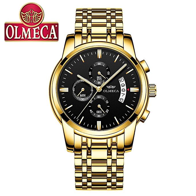 5942ee39106 OLMECA Relogio Masculino Men s Watch Luxury Watches 3ATM Waterproof Clock  Chronograph Wristwatch Stainless Steel Band