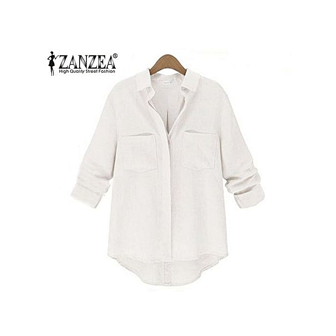 765b61a26 ZANZEA Spring Women Blusas Casual Loose Buttons Long Sleeve Blouses Turn- down Collar Shirts Tops