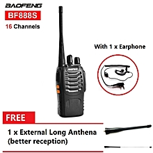 BaoFeng BF-888S16 Channel Walkie Talkie Set UHF 5W With Earphone FREE 1 x External Long Anthena