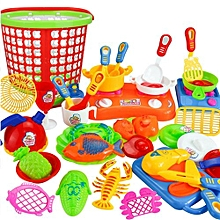 Henoesty 35pcs Plastic Kids Children Kitchen Utensils Food Cooking Pretend Play Set Toy