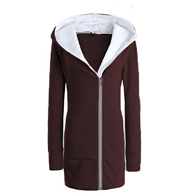 e9097529 ZANZEA Women Hoodie Sweatshirt Autumn Winter Coat Casual Long Coat Pockets  Zip Oversize Outerwear Hooded Jacket