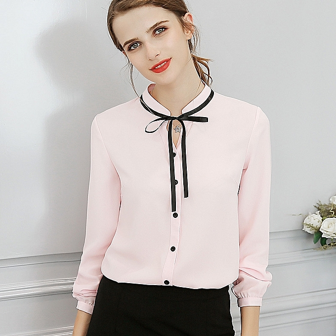 f31e17f0f9a6 New Korean women's fashion wild thin long-sleeved solid color trend slim  shirt-pink