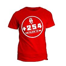 +254 Red Printed T-Shirt Design