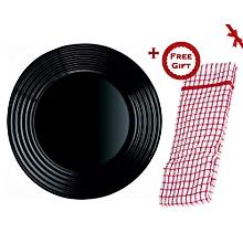 6pcs Harena Tempered Black Dessert Side Plate 19cm (+ Free Gift Hand Towel).