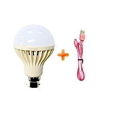 LED Bulb Energy Saving Bulb - White -3W,Get One Free Android Cable