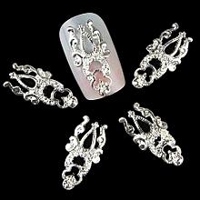 bluerdream-5Pcs Practical Fashion Nail Art 3D Alloy Rhinestone Metal Decoration-silver