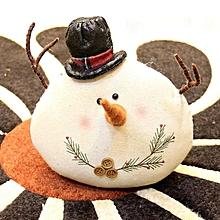 Burlap Christmas figurine snowman doll # Leather hat S