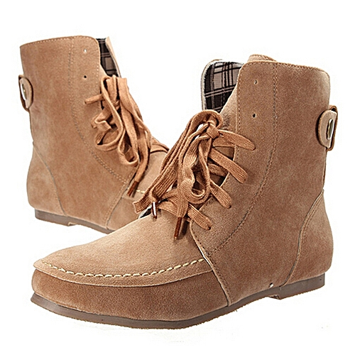 d091240c548e4 UNIVERSAL Fashion Women Girl Suede Lace Up Flat Ankle Boots Outdoor Sports  Round Toe Shoes