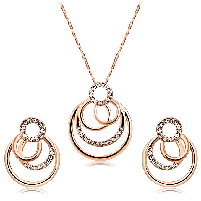 Women Clic Style Overled Circle 18k Gold Plated Earrings Necklace Kits Rose