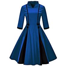 Woman Vintage flare Swing Dress - Blue