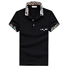 Mens Casual Cotton Sports Golf Shirt Summer Solid Color Lapel Short Sleeve Tops