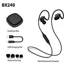BX240 Wireless Sports Headphones Bluetooth 4.1 In-Ear Earphone IPX5 Waterproof Music Stereo Headset With Mic For Phone (Black)
