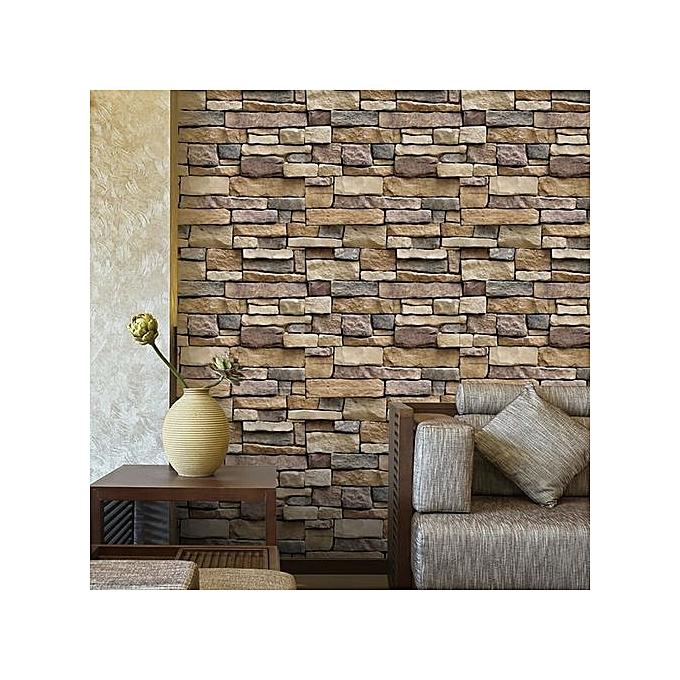 3d Effect Brick Stone Accent Wall: Skywolfeye 3D Wall Paper Brick Stone Rustic Effect Self