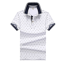 Mens Printed POLO Shirts Cotton Short Sleeve Camisas Polo Casual Stand Collar Male Polo Shirt-white