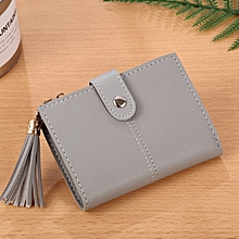 Korean Style Fashion Women Wallet PU Leather Small Purse Tassels Wallet light gray