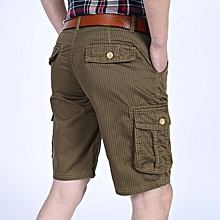 Mens 100% Cotton Multi-pocket Knee-Length Cargo Pants Loose Outdoor Casual Shorts