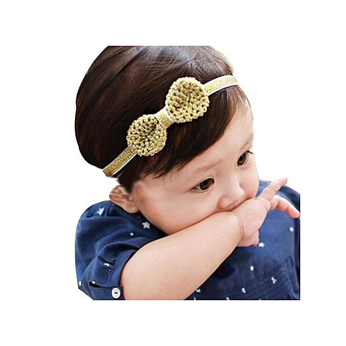 19c80227ba3 ... Braveayong Girl Head Accessories Hairband Baby Elastic Bowknot Headwear  - Gold ...
