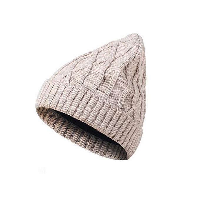 9c81ce625ba Wenrenmok Store Mens Ladies Knitted Woolly Winter Oversized Slouch Beanie  Hat Cap Beige-Beige