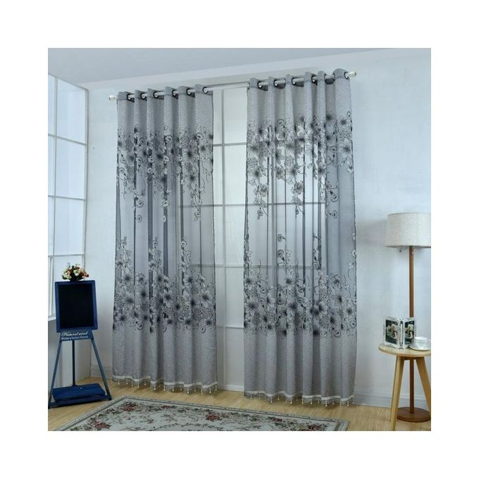 Magideal Floral Window Curtains Panel Net Drape Balcony Office