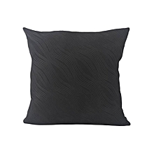 Wavy Patterned Decorative Pillow - Large - Black