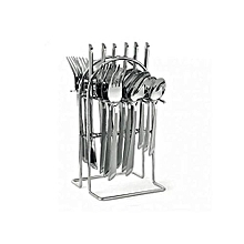 Stainless Steel Cutlery Set - 24PCs - Silver