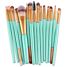 15pcs Makeup Brush Set tools Make-up Toiletry Kit Wool Make Up Brush Set -Gold