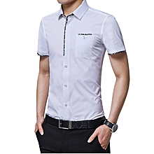 Casual Youth Men's Fashion Business Formal Plain Top T Shirts-White