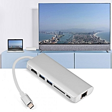 High quality 6 In 1 Type-C to 4K HDMI RJ45 Ethernet SD Card Reader 2 Port USB 3.0 Hub Adapter Converter HT