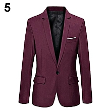Men's Slim Formal Business Suit Coat One Button Lapel Long Sleeve Pockets Top-Wine Red