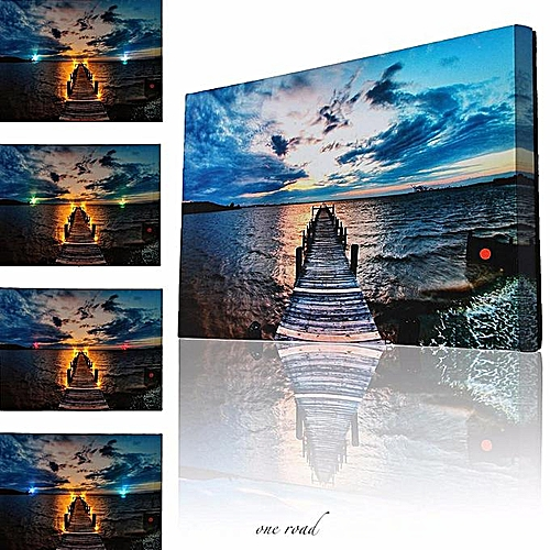 Eight Led Lights Abstract Lake Canvas Art Printing Bright Pictures Home  Wall Decoration
