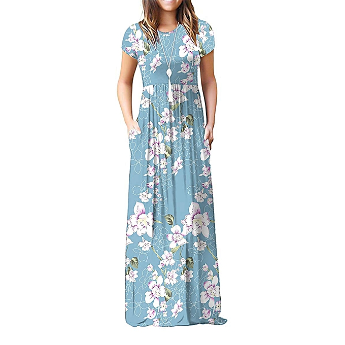 777afd1ff266 Fashion Womens Short Sleeve Floral Loose Maxi Dresses Casual Long ...