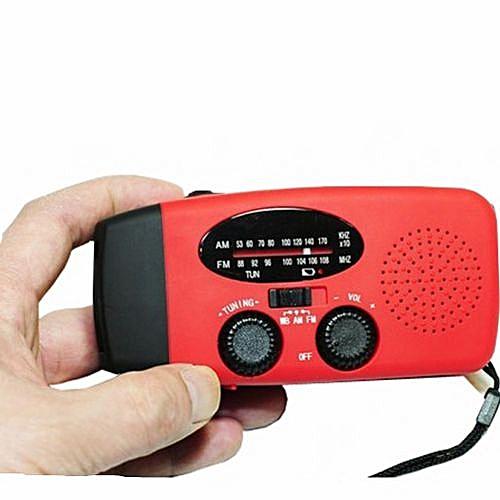 Solar Power AM FM Radio Emergency Hand Cranked Flashlight