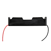 Plastic Battery Storage Case Box Holder for 1 x 18650 Black with 6' Wire Leads