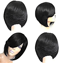 Wig ladies fashion realistic natural high temperature silk wig-black