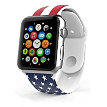 US Pattern Sports Silicone Bracelet Strap Band For Apple Watch 38mm-AS Shown