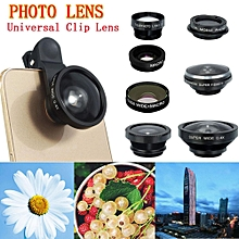 Universal 8in1 Clip On Camera Lens Kit Fisheye +Wide Angle +Macro For Cell Phone Black
